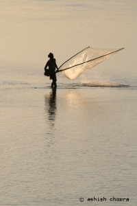 Fisherman fishing in the Luit/Lohit or the mighty Brahmaputra